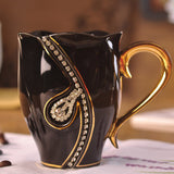 European Fashion Design Creative Gift Lovers Cups 3D Ceramic Mugs With Rhinestones Decoration
