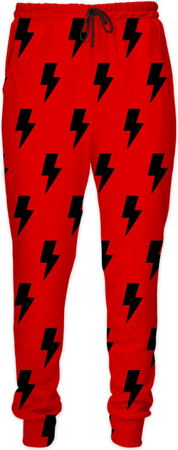 Black Lightning Bolts Red Joggers