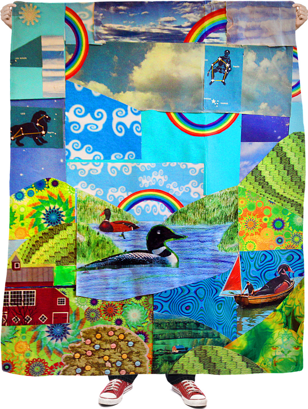 Loon Lake Collage Fleece Blanket