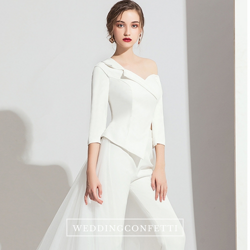 The Titiana Long Sleeve White / Black Jumpsuit