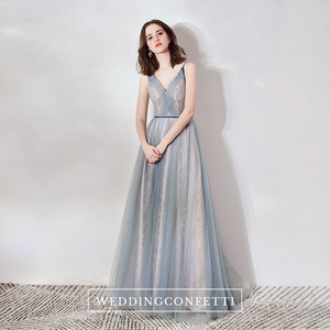 The Cara Ombre Greyish Blue Sleeveless Gown