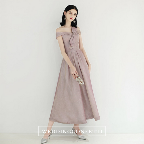 The Fellyn Pink Off Shoulder Midi Gown