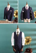 Load image into Gallery viewer, Patrick Groom Men's Navy Blue Suit Jacket, Vest and Pants (3 Piece) - WeddingConfetti