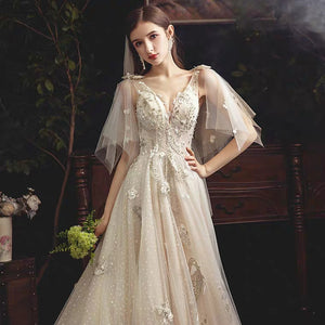 The Rosaleen Wedding Bridal Flare Sleeves Gown - WeddingConfetti