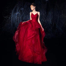 Load image into Gallery viewer, The Vivianna Red / Gold Tulle Sleeveless Gown - WeddingConfetti