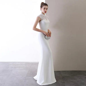 The Katherine Cheongsam Mandarin Collar White Gown - WeddingConfetti