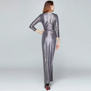The Terra Silver Grey Long Sleeves Dress - WeddingConfetti