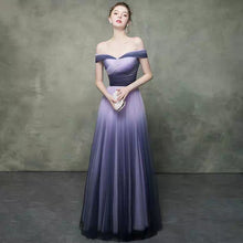 Load image into Gallery viewer, The Raynard Purple Ombre Off Shoulder Gown - WeddingConfetti
