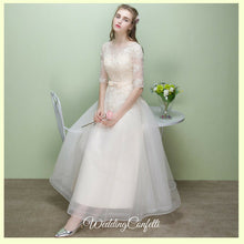 Load image into Gallery viewer, The Leanne Champagne Long Sleeves Lace Tulle Dress - WeddingConfetti