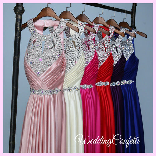 *Brand New* Wedding Bridal Bridesmaid Sisters Pink/Champagne/Fuschia/Red/Black/Royal Blue Halter Evening Gown/ Dress
