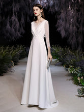 Load image into Gallery viewer, The Urshila Wedding Bridal Long Illusion Sleeves Gown