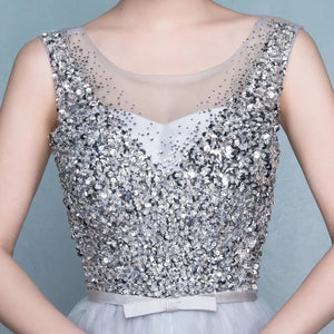 The Celia Grey Sequined Sleeveless - WeddingConfetti