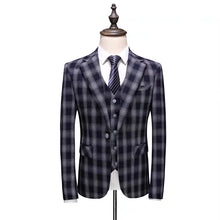 Load image into Gallery viewer, Keanu Groom Men's Black Checkered Suit Jacket, Vest and Pants (3 Piece) - WeddingConfetti