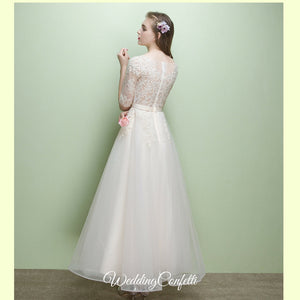 The Leanne Long Sleeves Lace Tulle Dress