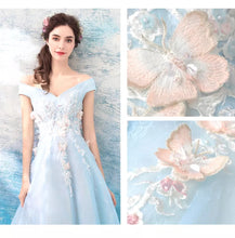 Load image into Gallery viewer, The Kaisley Sky Blue Off Shoulder Floral Gown - WeddingConfetti