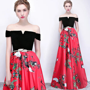 The Reianie Black & Yellow /  Red Off Shoulder Gown - WeddingConfetti