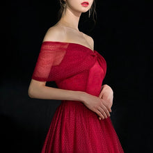 Load image into Gallery viewer, The Quioxte Red Off Shoulder Dress - WeddingConfetti