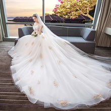 Load image into Gallery viewer, The Leila Bridal Off Shoulder Floral White Gown - WeddingConfetti