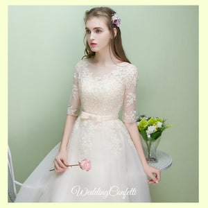The Leanne Champagne Long Sleeves Lace Tulle Dress - WeddingConfetti