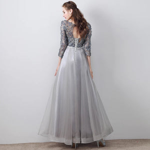 The Tania Grey Long Sleeves Gown