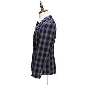 Keanu Groom Men's Black Checkered Suit Jacket, Vest and Pants (3 Piece) - WeddingConfetti