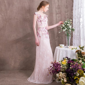 The Camellia Pink Floral Sleeveless Gown - WeddingConfetti