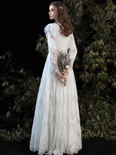 Load image into Gallery viewer, The Kastelle Long Sleeved Lace White Gown