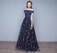 Load image into Gallery viewer, The Cassiopeia Off Shoulder Blue Gown - WeddingConfetti