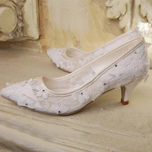 Load image into Gallery viewer, Wedding Bridal Floral Lace Heels (Available in 3 colours) - WeddingConfetti
