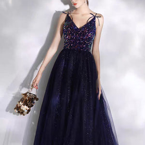 The Jodian Navy Blue Sleeveless Evening Gown