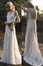 Load image into Gallery viewer, The Zelmyda Bohemian Lace Wedding Gown - WeddingConfetti