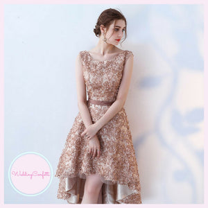 The Rikka Gold Hi Low Sleeveless Dress - WeddingConfetti