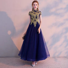 Load image into Gallery viewer, The Premley High Collar Cheongsam Royal Blue / Champagne Gown