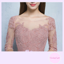 Load image into Gallery viewer, The Rosaelyn Pink lace Sleeves Short Evening Gown - WeddingConfetti