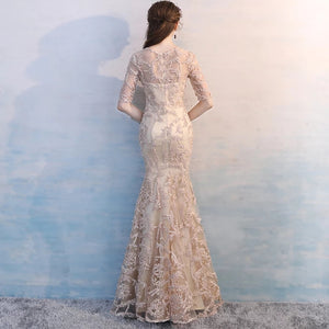 The Valia Tisha Mermaid Long Sleeves/Halter Champagne Gown (Available in Midi & Maxi) - WeddingConfetti