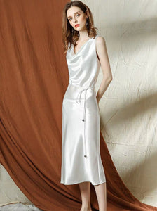The Katelle White Satin Dress - WeddingConfetti