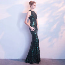 Load image into Gallery viewer, The Briddy Sequined Dark Green Gown - WeddingConfetti
