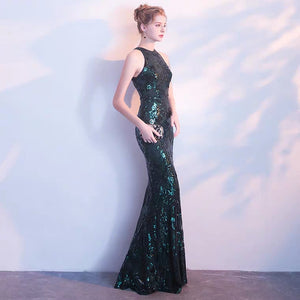 The Briddy Sequined Dark Green Gown - WeddingConfetti