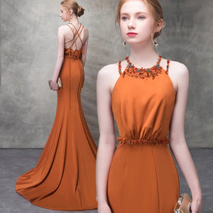 The Clementine Orange Sleeveless Halter Gown - WeddingConfetti