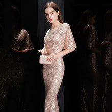 Load image into Gallery viewer, The Rayna Gold Sequined Draped Sleeves Gown (Available in 2 colours) - WeddingConfetti