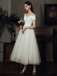 The Bridget Wedding Bridal Off Shoulder Gown (Available in Midi and Maxi)