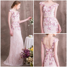 Load image into Gallery viewer, The Camellia Pink Floral Sleeveless Gown - WeddingConfetti