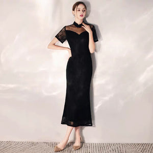 The Lerelle Black Cheongsam Mandarin Collar Gown - WeddingConfetti