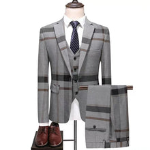 Load image into Gallery viewer, Men's Checkered Blue Suit Jacket, Vest and Pants (3 Piece) - WeddingConfetti