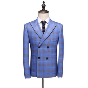 Gordon Groom Men's Sky Blue Checkered Suit Jacket, Vest and Pants (3 Piece) - WeddingConfetti