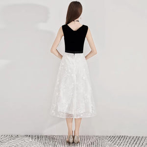 The Ixara Sleeveless White/Black Lace Gown - WeddingConfetti