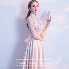Load image into Gallery viewer, The Cherlyn Champagne Mandarin Collar Cheongsam Long Sleeves Gown - WeddingConfetti