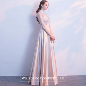 The Cherlyn Champagne Mandarin Collar Cheongsam Long Sleeves Gown - WeddingConfetti