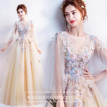 Load image into Gallery viewer, The Gregery Light Yellow 3D floral Flare Sleeves Gown - WeddingConfetti