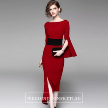 Load image into Gallery viewer, The Bethsda Trumpet Sleeves Red Dress - WeddingConfetti